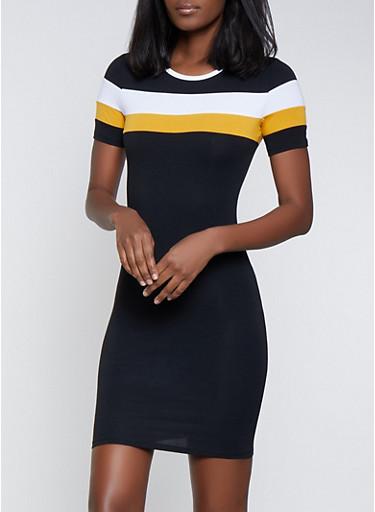 Color Block T Shirt Dress | 1094061639734,BLACK/WHITE,large