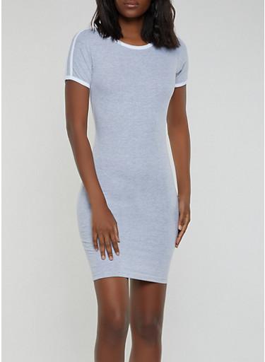 Contrast Trim Mini T Shirt Dress,HEATHER,large
