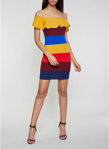 Striped Off the Shoulder Dress,MUSTARD,large