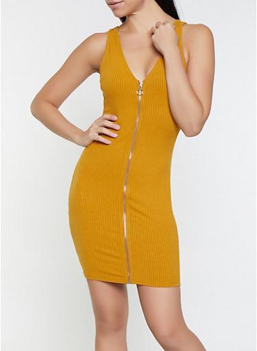 Zip Front Rib Knit Dress,MUSTARD,large