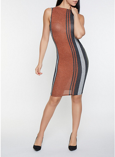 Sleeveless Striped Sweater Dress,RUST,large