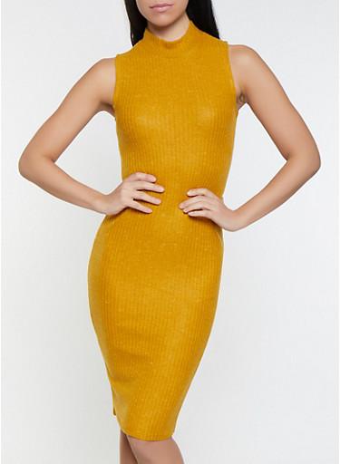 Brushed Knit Sweater Dress,MUSTARD,large