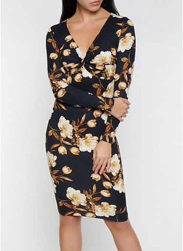 Floral Twist Front Bodycon Dress,BLACK,large