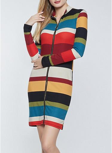 Zip Front Color Block Dress,WINE,large