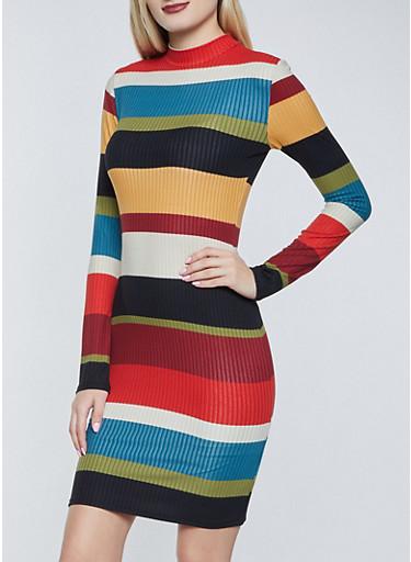 Color Block Mock Neck Dress,WINE,large