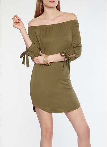 Soft Knit Off the Shoulder Tie Sleeve Dress,OLIVE,large