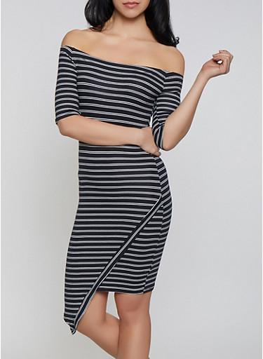 Striped Off the Shoulder Asymmetric Hem Dress,BLACK/WHITE,large