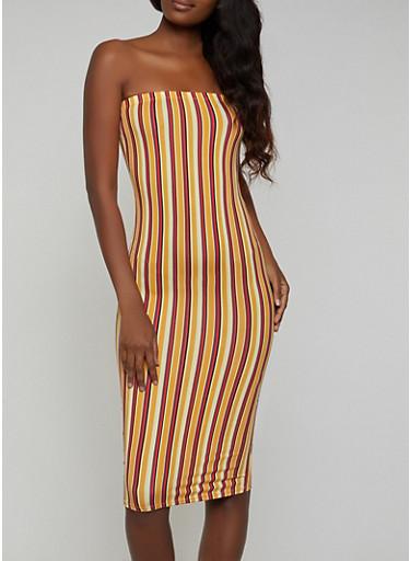 Striped Soft Knit Tube Bodycon Dress,MUSTARD,large