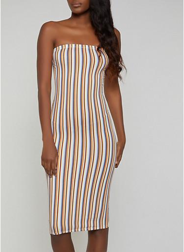 Soft Knit Striped Tube Dress,MULTI COLOR,large