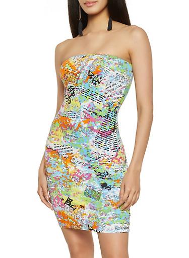 Paint Splatter Newspaper Print Mini Tube Dress,MULTI COLOR,large