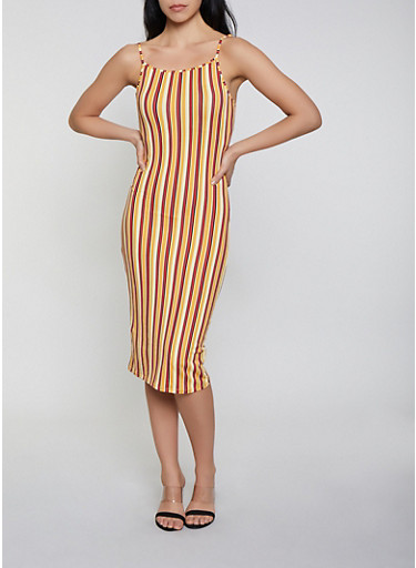 Vertical Stripe Cami Dress,MUSTARD,large