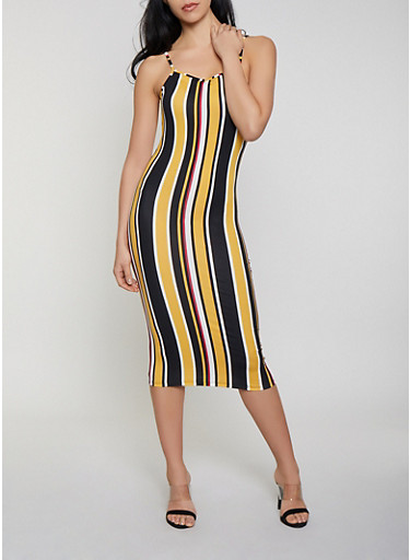 Striped Bodycon Cami Dress,MUSTARD,large