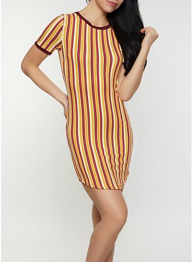 Vertical Stripe T Shirt Dress,MUSTARD,large