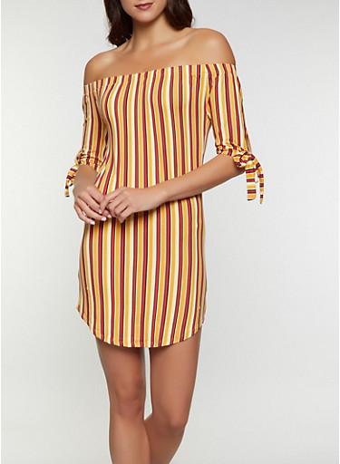 Vertical Stripe Off the Shoulder Dress,MUSTARD,large