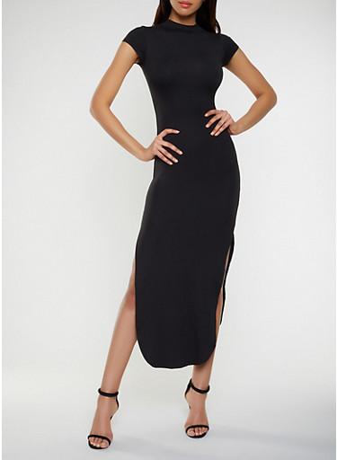 Cut Out Back Side Slit Maxi Dress,BLACK,large