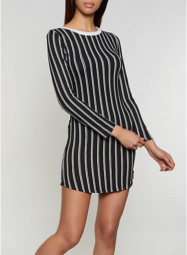 Long Sleeve Striped T Shirt Dress,BLACK/WHITE,large