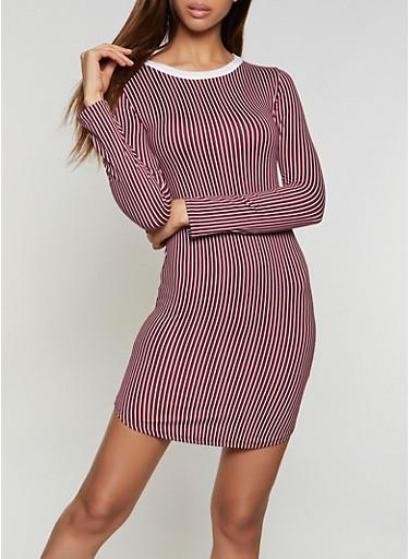 Striped T Shirt Dress,BURGUNDY,large