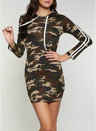 Camo Hooded One Pocket Dress,OLIVE,large