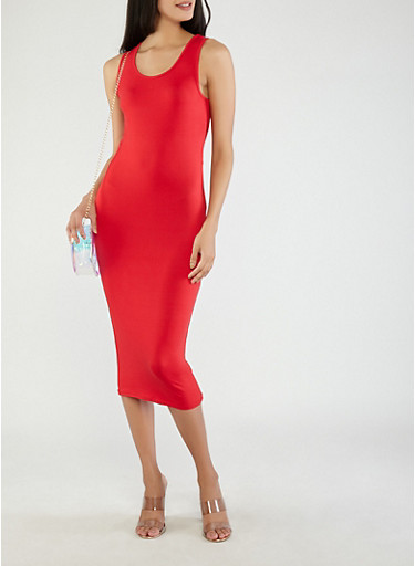 Soft Knit Sleeveless Bodycon Dress,RED,large