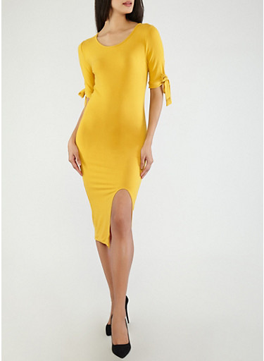 Soft Knit Tie Sleeve Dress,MUSTARD,large
