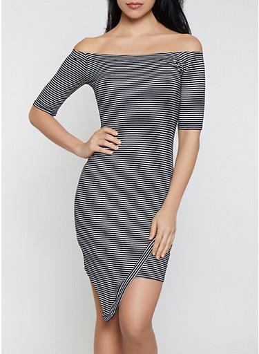 Striped Off the Shoulder Asymmetric Trim Dress,BLACK/WHITE,large