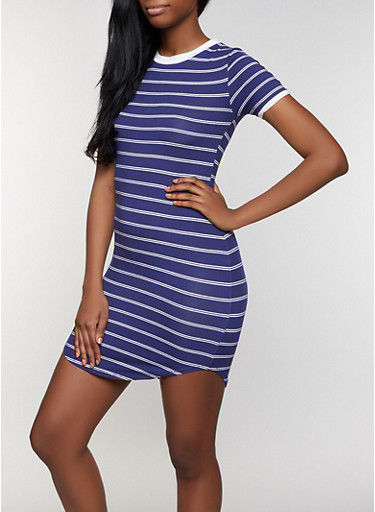 Contrast Trim Striped T Shirt Dress,NAVY,large