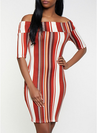 Striped Off the Shoulder Dress,RUST,large