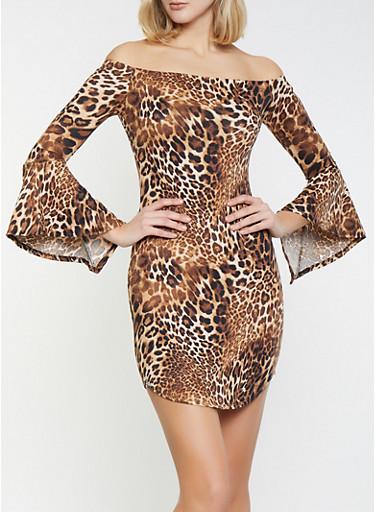 Leopard Off the Shoulder Dress,BLACK,large
