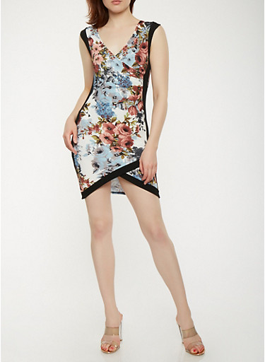 Floral Faux Wrap Dress,IVORY,large