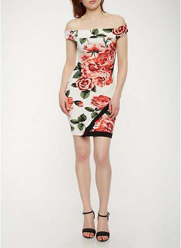 Textured Knit Off the Shoulder Dress,IVORY,large
