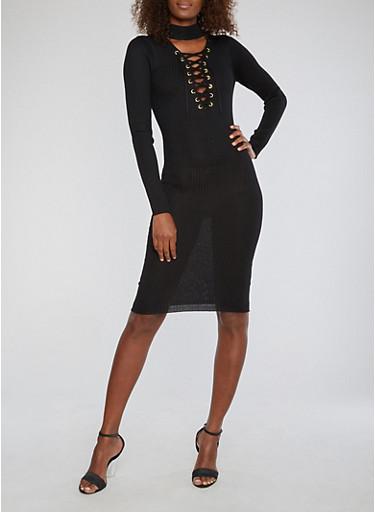Ribbed Knit Lace Up Sweater Dress,BLACK,large