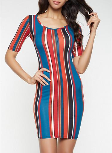 Striped Bodycon Dress,RUST,large