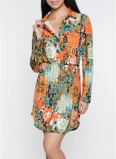 Printed Shirt Dress,KELLY GREEN,large