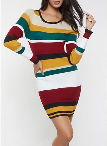 Striped Sweater Dress,WINE,large