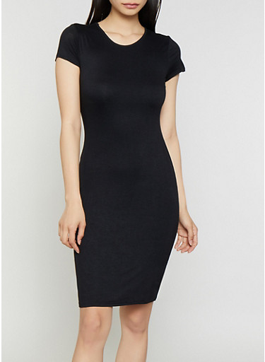 Solid Bodycon T Shirt Dress,BLACK,large