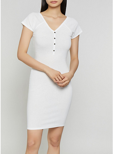 Ribbed Half Button Bodycon Dress,WHITE,large