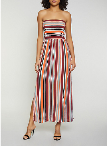 Striped Smocked Tube Maxi Dress | 1094075170022,RUST,large