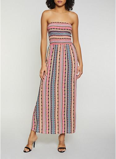 Printed Smocked Tube Maxi Dress,MULTI COLOR,large