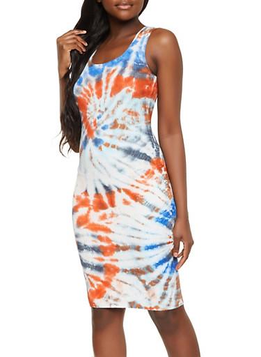 Tie Dye Ribbed Knit Tank Dress,BLUE,large