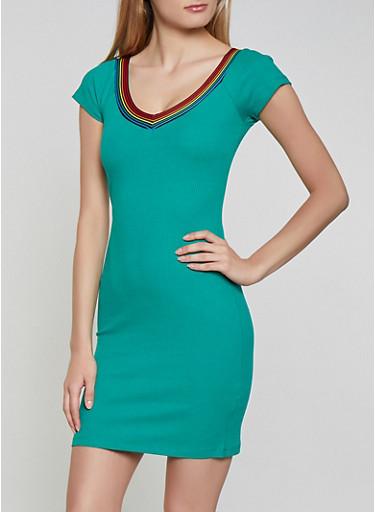 Striped Tape Trim Bodycon Dress | 1094075171028,GREEN,large