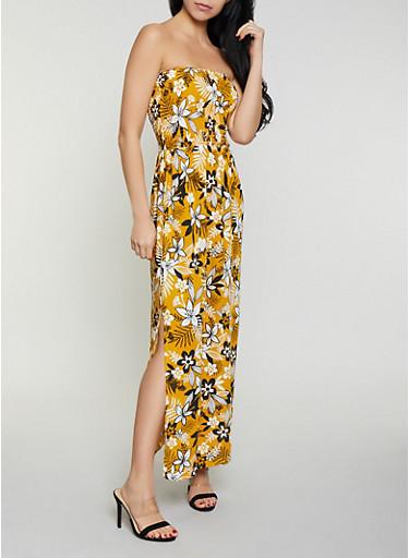 Smocked Tube Floral Maxi Dress,MUSTARD,large