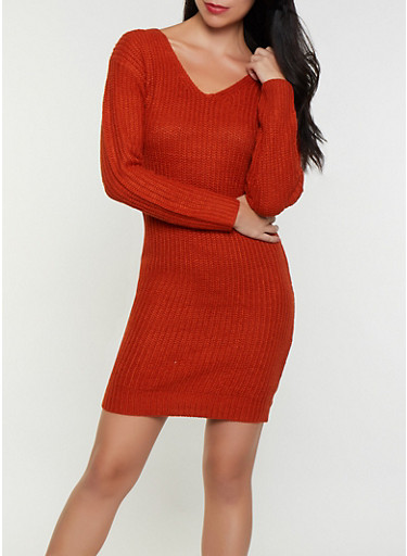Caged O Ring Back Sweater Dress,RUST,large