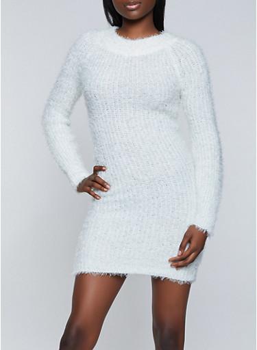 Eyelash Knit Sweater Dress,IVORY,large