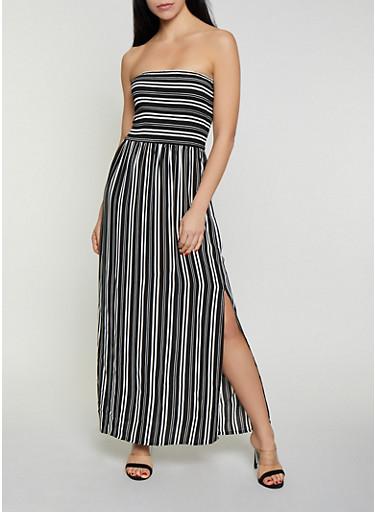 Striped Smocked Tube Maxi Dress,BLACK/WHITE,large