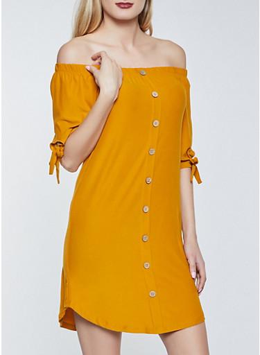 Off the Shoulder Button Detail Dress,BROWN,large
