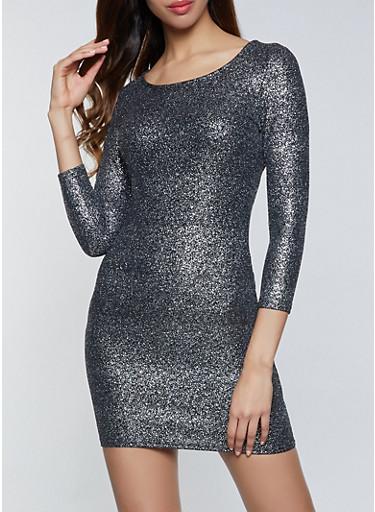 Foiled Scoop Neck Bodycon Dress,BLACK,large