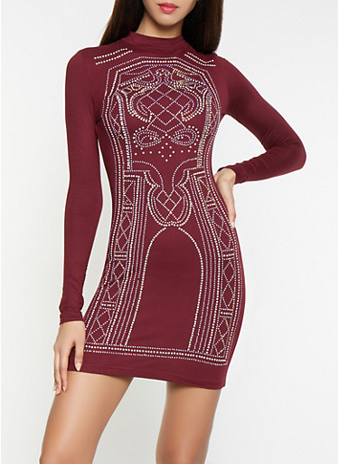 Rhinestone Studded Bodycon Dress,WINE,large