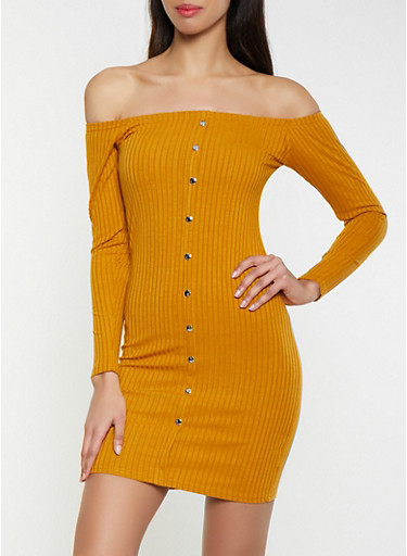 Ribbed Knit Off the Shoulder Sweater Dress,BROWN,large
