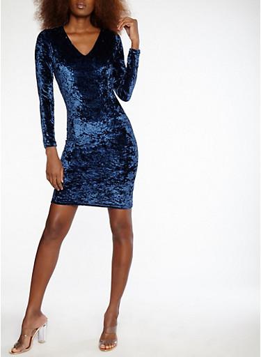 Velvet Lace Up Back Dress,NAVY,large