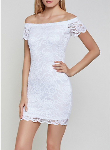 Off the Shoulder Lace Bodycon Dress,WHITE,large